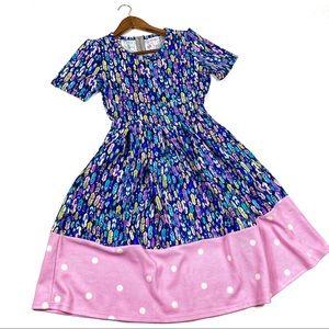 Lularoe Amelia Small Feather Polka Dot Dress